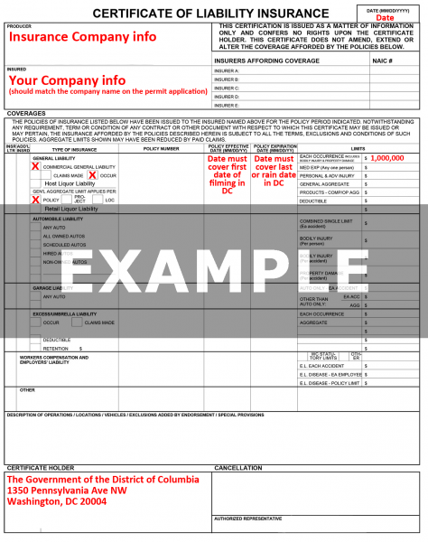 Example of Certificate of Insurance(COI)